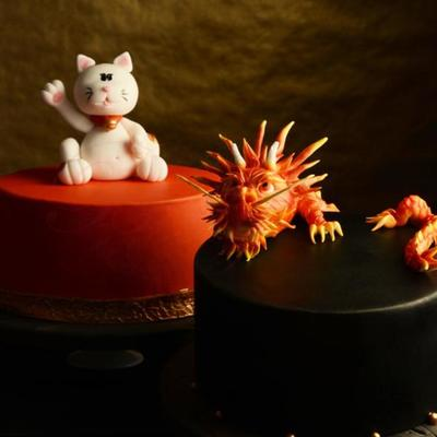 Chinese Dragon & Lucky Cat on Cake Central