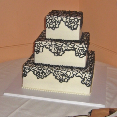 Square Wedding Cake With Rose Pattern
