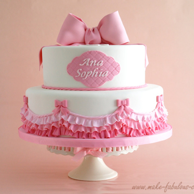 Pink Ombre Ruffles Baptism Cake