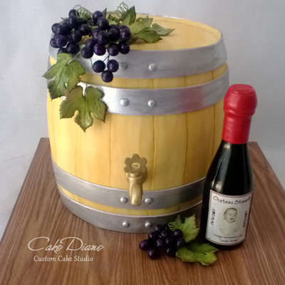 Wine Barrel Cake For A 50Th Birthday Celebration At A Wine Bar Handmade Gumpaste Grape Clusters Molded Chocolate Wine Bottle With Personal...