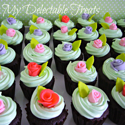 Rosy Birthday Cupcakes