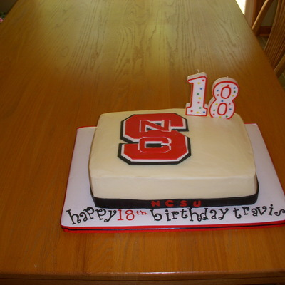 This Was My Grandson S 18 Birthday Cake He Will Be Going To Ncstate We Are Very Proud Of Him Buttercream Icing With Fondant Gp Decos