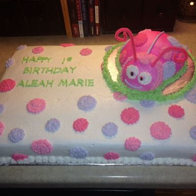 This Is A Pink And Purple Lady Bug Cake Smash For My Niece Aleahs First Birthday It Was Devils Food With Buttercream Fr