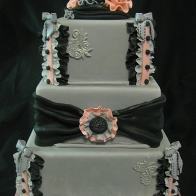 Fabric-Inspired Gray Cake