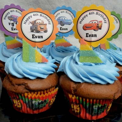 Cars Cupcakes With Custom Cupcake Toppers