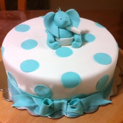Blue Baby Elephant Baby Shower Cake