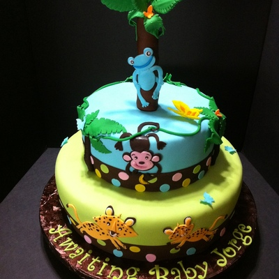 Jungle Animals Baby Shower Cake