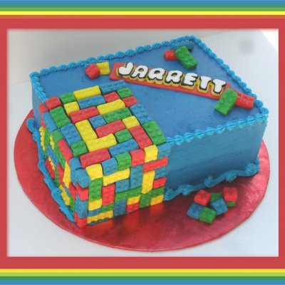 Legos 11X15 Sheet Cake Cut In Half And Stacked Frosted In Buttercream With Fondant Legos And Name Plate