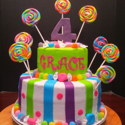 I Had So Much Fun Doing This Bright And Colorful Birthday Cake All The Accents Are Made From Mmf I Love The Lollipops And Wrapped Candy
