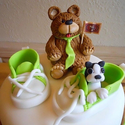 Baby Shoes, Bears And Dog - Baby Shower Cake