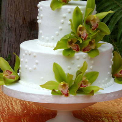 Lemon Raspberry Wedding Cake With Orchids on Cake Central