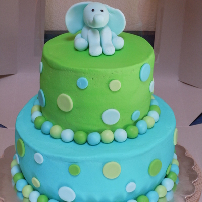 Baby Shower Cake With Polka Dots And Elephant.