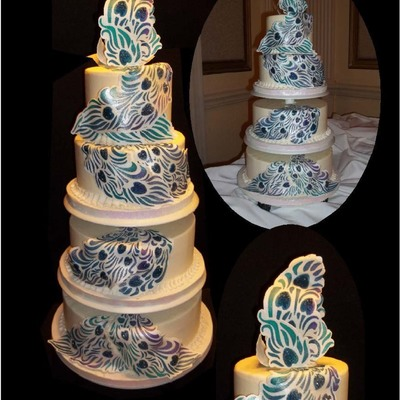 Peacock Feather Wedding Cake Coconut Cake With Toasted Coconut And Vanilla Filling Iced In Smbc Buttercream With Ri Stencils On Gumpaste