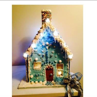 Blue And White Gingerbread House For Hospital Foundation Fundraiser- Love Making These
