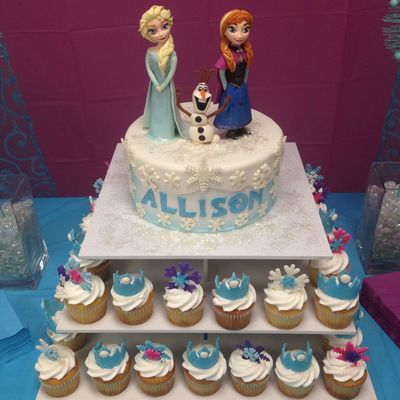Frozen Themed Birthday Cake With Fondant Characters Everything Edible
