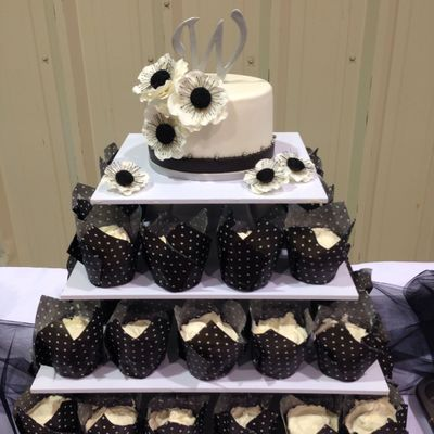 Black And White Bridal Shower Cake With Fondant Anemones
