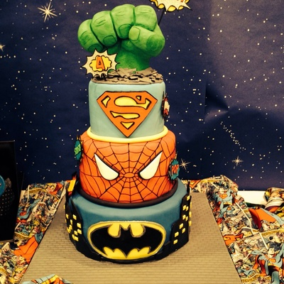 Superhero Cake Hulk Fist Is Rkt Covered In Fondant Comic Bubbles Are Handmade Out Of Fondant