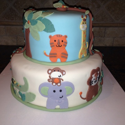 Safari Themed Baby Shower Cake Animals Were Done To Match The Babys Bedding