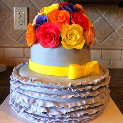80Th Birthday Cake With Fondant Ruffles And Fondant Roses