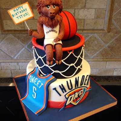 Thunder Up Okc Thunder Cake For 5 Year Old Boy Ball Is Rkt Covered In Fondant Rumble Is All Fondant Except For Some Tootpicks And A Styro