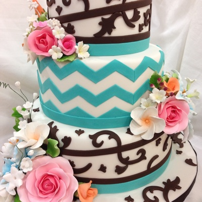Turquoise And Brown, Floral & Chevron Wedding Cake