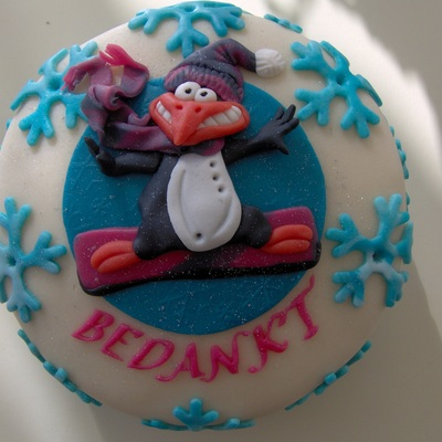 Pinquin Snowboarding Cake on Cake Central
