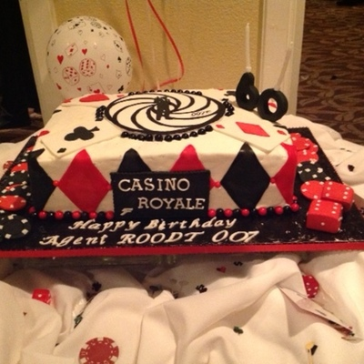 Casino Royale 60Th Birthday Dark Chocolate Cake Raspberry Preserve Filling Chambord Bc Frosting All Decorations Are Edible