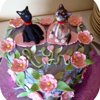 Cats Are Apollo Amp Chocolate Made Of Fondant Wtylose The Flowers Amp Leave Are Also Fondant Wtylose Cake Was Lemon With Raspberry