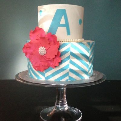 Pink And Turquoise Graphic Cake