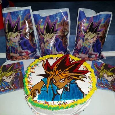 Yu Gi Oh Cake For Grandson Bc With Ct And Hand Painted To Make It Pop Some