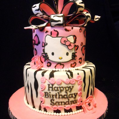 Pink Leopard & Zebra Hello Kitty