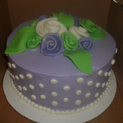 Simple Lavender And Green Rose Cake