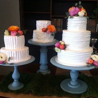 Trio Of Textured Wedding Cakes on Cake Central