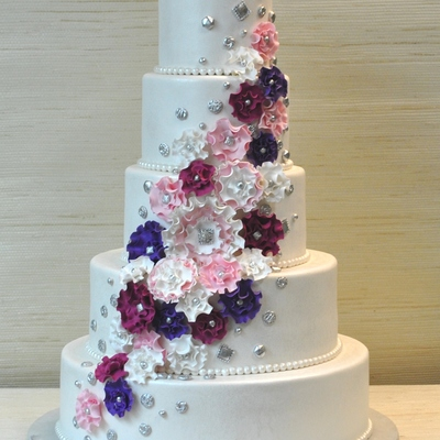 Extraordinary 5 Tier Wedding Cake With Fantasy Ruffled Gum Paste Flowers And Silver Vintage Fondant Buttons