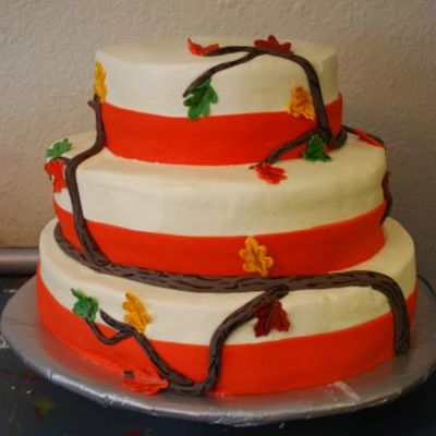 Fall Branch Wedding Cake
