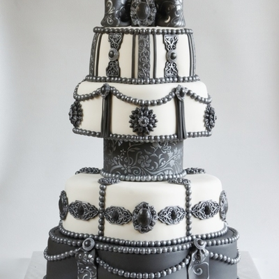 Black And White Brooche Wedding Cake