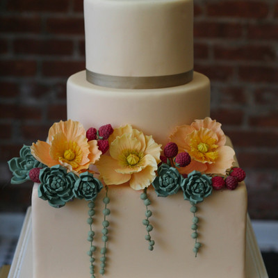 Camel Colored Fondant With Sugar Succulents Raspberries And Icelandic Poppies