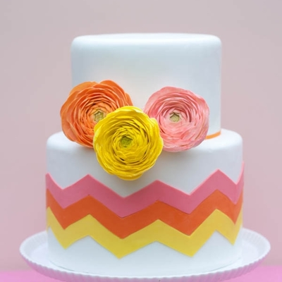 Citrus-Inspired Chevron Cake With Sugar Ranunculus on Cake Central