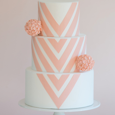 White Fondant With Modern Interpretation Of Chevron Deep Blush Pink With Sugar Flower Pomander Ball Photo By Brooke Allison Photo