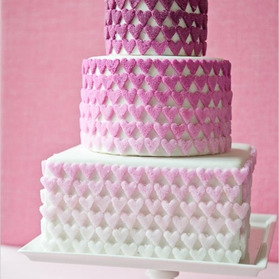 Ombre Sugar Hearts on Cake Central