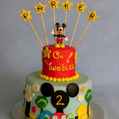 Mickey Mouse Clubhouse 2Nd Birthday Cake Lemon Chiffon Cake With Lemon Curd Butter Cream Filling Mmf And Duffs Fondant Covered And Topped