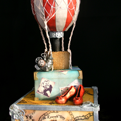 My Wizard Of Oz Themed Cake Done In A Steampunk Style This Cake Is What I Imagined Dorothy And The Tin Mans Cake Would Look Like If They
