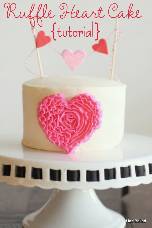 Buttercream Ruffle Heart Cake With Fondant Banner Full Tutorial On My Webpage
