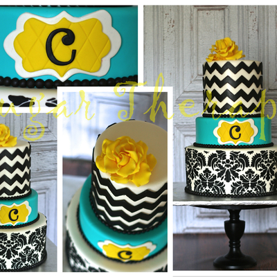 Damask Chevron Cake