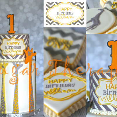 Giraffe Chevron Cake With Matching Cookies