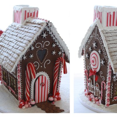 Gingerbread House With Red And Pink Decoration And Edible Windows On The Sides House Tutorial Httpwwwfacebookcommediasetseta10