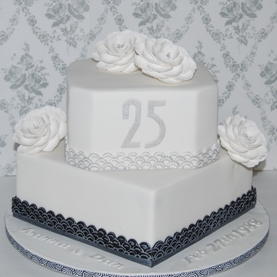25Th Anniversary Cake Silver Highlighted Art Deco Border And Silver Dusted Briar Roses Chocolate Cake With Chocolate Hazelnut Buttercream