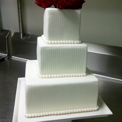 Red Peonies Wedding Cake