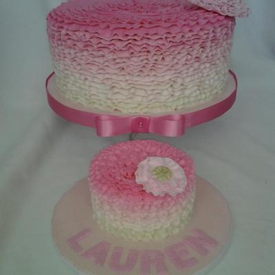 Buttercream Ruffle Birthday And Smash Cake With Gumpaste Flower Accent