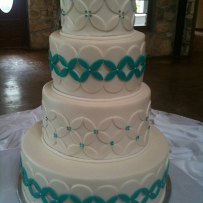 White-Turquoise Wedding Cake